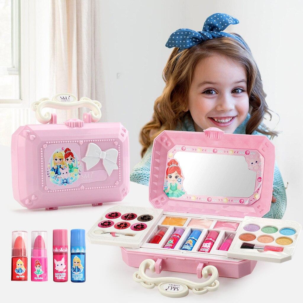 Clearance SaleDisney Girls Toys Makeup-Set Frozen Elsa Beauty Princess Children's Real Mini-Box Washable
