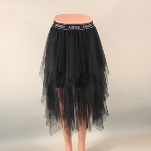 Image 5 - กระโปรงสตรี 2020 ฤดูร้อนใหม่ VINTAGE Elastic สูงเอวตาข่าย Tulle กระโปรงยาวจีบกระโปรง Tutu กระโปรงผู้หญิง Saias MIDI faldas Jupe