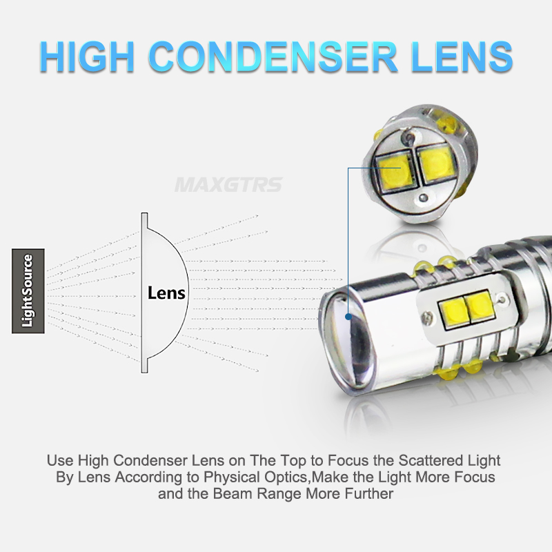 2x T10 194 W5W CREE Chip Led White/Yellow 25W 50W With Len Projector Aluminum Case Bulbs DRL Car Interior Reverse Source Light