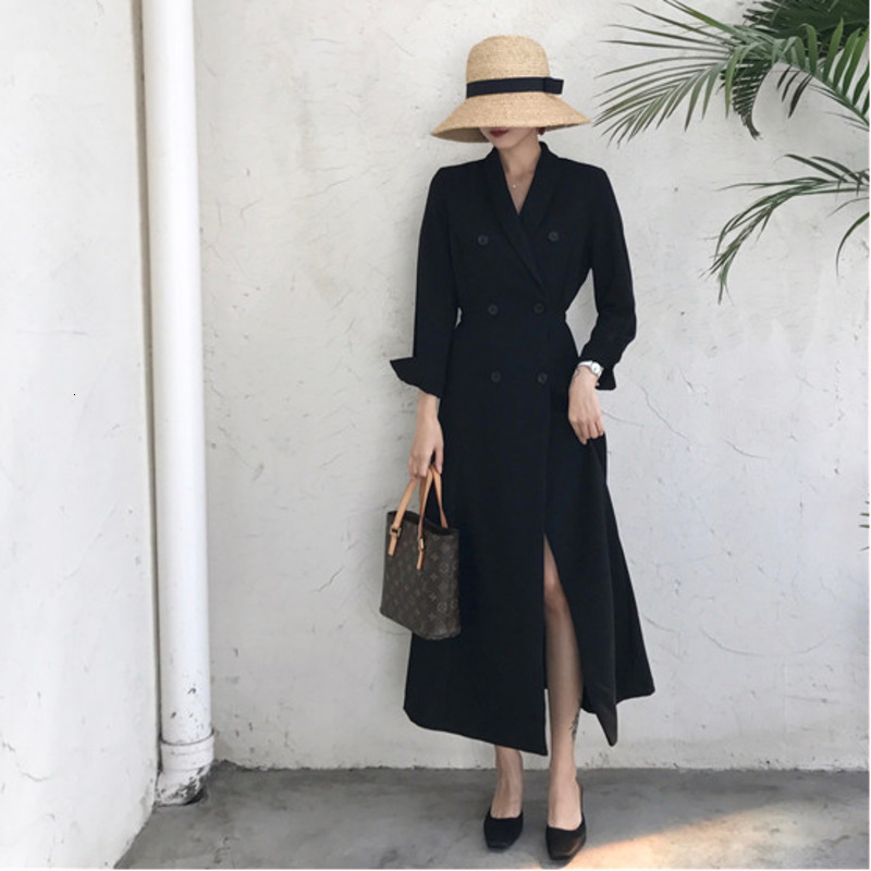 LANMREM 2020 Korean New Women's Suit Collar Solid Color Retro Waist Double-breasted Suit Long Coat PC298