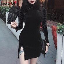 InstaHot Chinese Style Velvet Cheongsam Dress Women Bodycon Vintage Long Sleeve Split Mni Traditional Elegant Qipao 2019 New