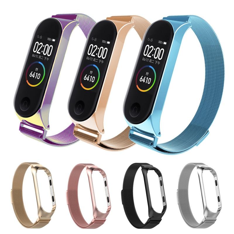 Fashion Metal Stainless Steel Strap For Xiaomi Mi Band 3 4 Wrist Strap For Xiaomi Miband4 3 Bracelet For Mi Band Reloj Mujer