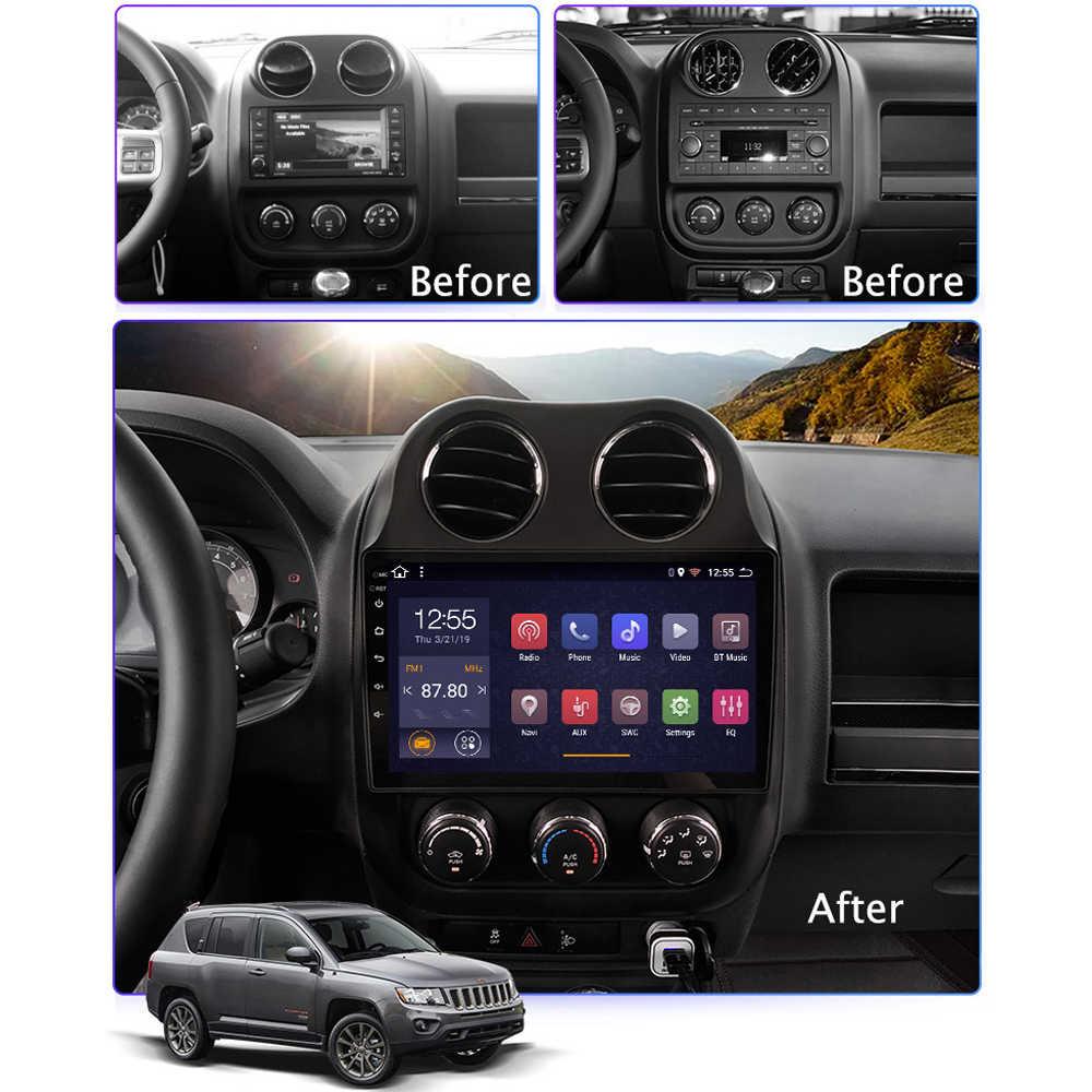 """DVD de coche para JEEP Compass Patriot autorradio 2009 2010-2016 Android 8,1 9 """"sistema Multimedia compatibilidad con FM carplay Cámara inversa SWC"""