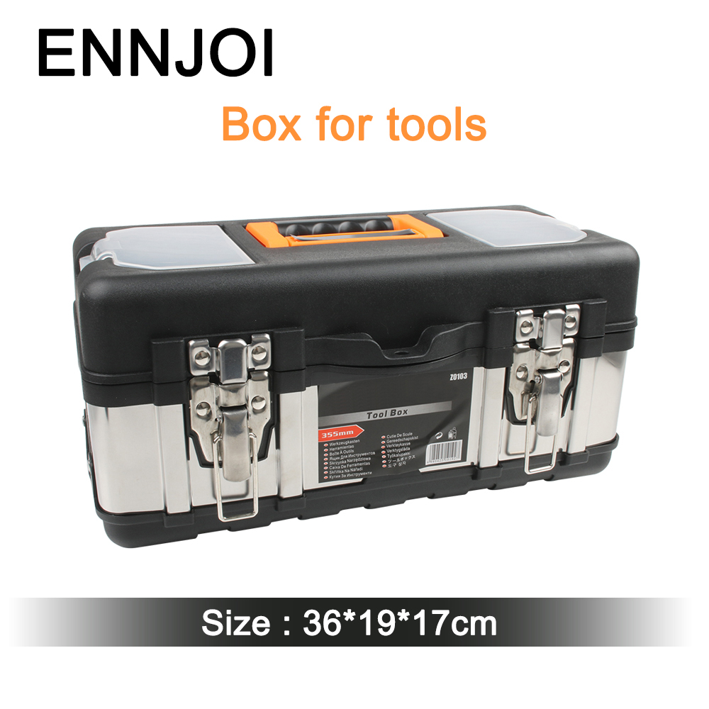 High Qaulity Plastic Large Stainless Steel Toolbox Household Maintenance Electrician Tool Box Z0103 36cm*17cm*19cm