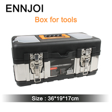 Plastic Large stainless steel Tools toolbox household maintenance electrician Tool Box Z0103 36cm*17cm*19cm Free shipping