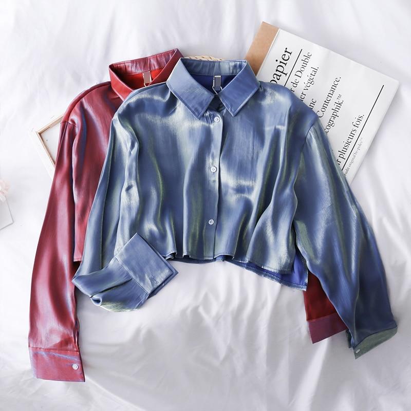 Korean Gloss Loose Slim Single-breasted Long Sleeve Shirt Women 2019 New Short Crop Tops Lapel Blouse J385