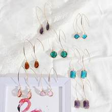 цена на ZWPON Fashion Facet Crystal Pendant Drop Earrings Rainbow Teardrop Crystal Chic Drop Earrings for Woman Female Jewelry
