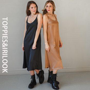 Toppies 2021 Women Satin Dress Party Luxury Shiny Sundress Sexy Imitation Silk Fashion Ladies Dress 1