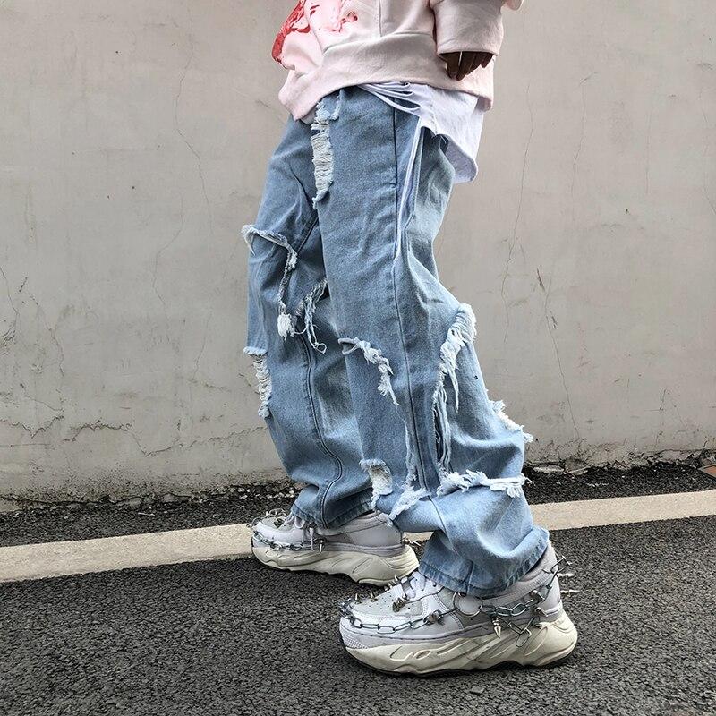UNCLEDONJM 2020 Black Jeans Plus Size Men Destroyed Stretch Loose Fit Hop Hop Pants Fashion Distressed Denim Jean Me-Z37