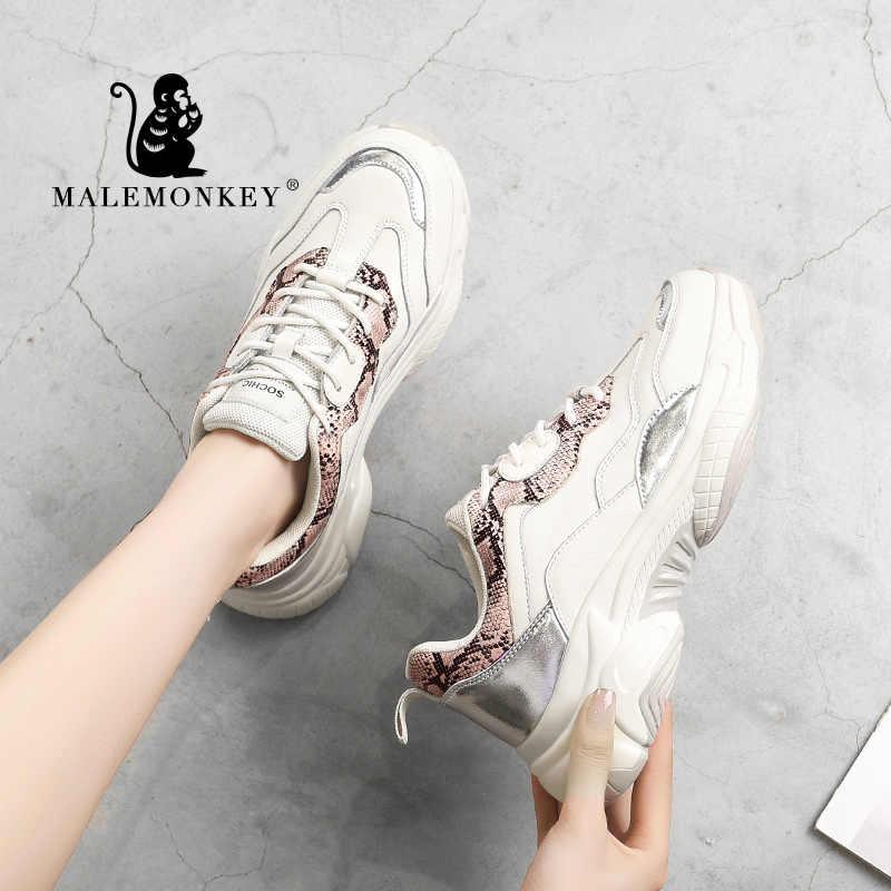 MALEMONKEY 932583 damskie platformy trampki damskie oddychające sneakersy 2020 wiosna moda Sport bieganie obuwie damskie 5cm