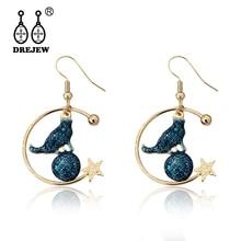 DREJEW Cute Gold Circle Star Blue Cat Statement Dangle Earrings 2019 Korean Fashion Alloy Drop for Women Ear Cuff HE617