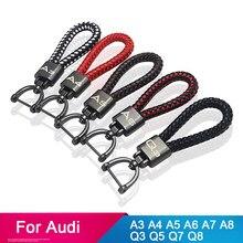 Deri araba anahtarlık için audi a4 b6 b7 b9 a3 8l 8p 8v q3 a7 a4 b8 a6 c6 4f c7 a5 q5 q7 q8 a7 a8 araba anahtarlık aksesuarları