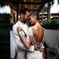 Vestido De Noiva Sereia Backless Mermaid Wedding Dresses 2020 Long Sleeve Applique Wedding Gowns Robe De Mariee