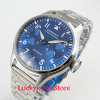 CORGEUT Luxury Automatic Men's Watch Power Reserve Function Stainless Steel Band 42mm Wristwatch