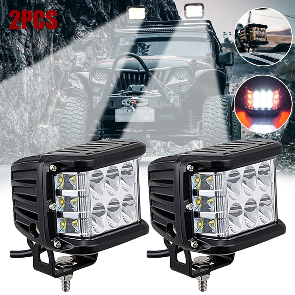 2pcs 90 W Side Shooter Pods Combo LED Work Light Strobe Lamp Car Led Bar Driving Fog Light Styling ATV SUV Offroad Trucks