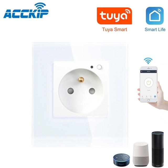 ACCKIP Wifi חכם תקע צרפתית 13A עם Google בית Alexa שלט רחוק את מכשיר קיר שקע