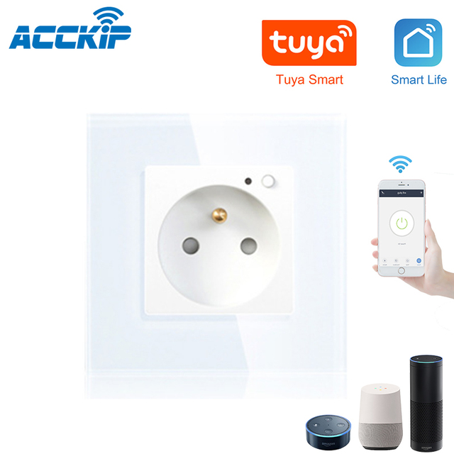 ACCKIP Wifi Smart Plug French 13A with Google Home Alexa Remote Control the Device Wall Socket