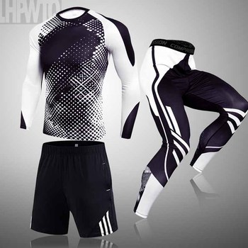 3-piece sets Compression Suits Men's Quick Dry set Clothes Sport Running MMA jogging Gym work out Fitness Tracksuit clothing 1