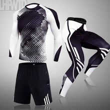 Clothing Tracksuit Compression-Suits MMA 3-Piece-Sets Quick-Dry-Set Gym Work-Out Fitness
