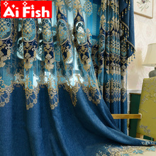 European Blue Royal Luxury Curtains for Bedroom coffee Window Curtains for Living Room Elegant Drapes European Curtains  M116-40