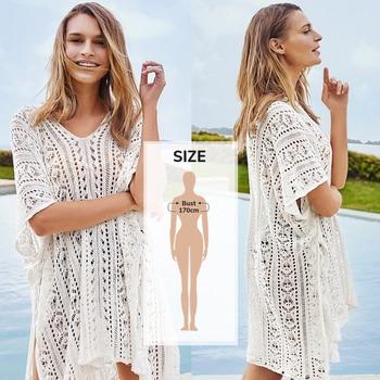 CUPSHE White Crochet Bikini Cover Up with Fringe Trim Women Sexy Hollow Tunic Beach Dress 2021 Summer Bathing Suit Beachwear 7