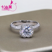 CADERMAY S925 Silver Jewelry 1CT Round Brilliant Cut Flower Style Moissanite Diamond Wedding Ring Band For Ladies Hot Sale 1