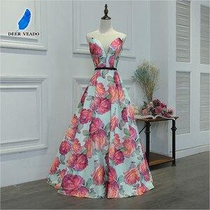 Image 3 - DEERVEADO Evening Dress Long Flower Print Formal Dress Elegant Woman Occasion Party Dresses Evening Gown Robe De Soiree M218