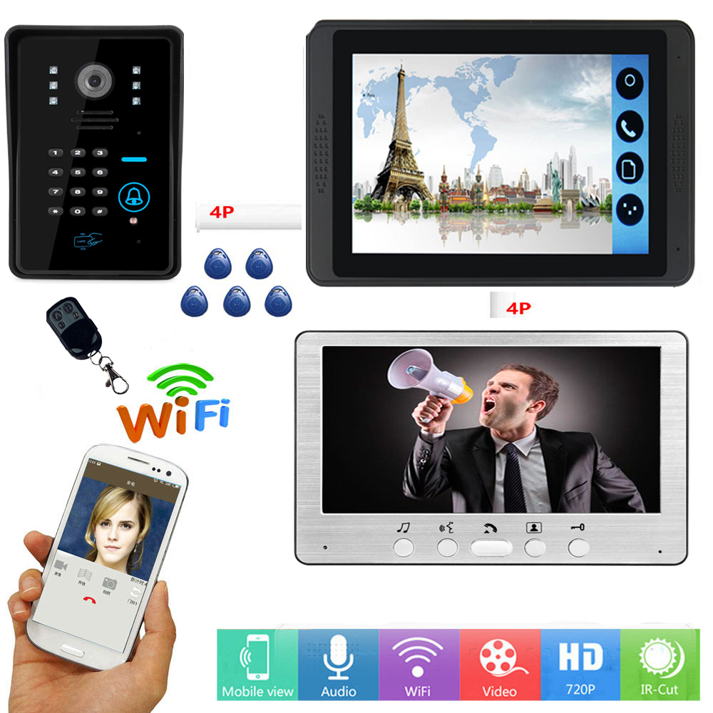 RFID Password Access Unlock Video Intercom 7 Inch LCD Wifi Wireless Video Door Phone Doorbell APP Control Visual Intercom System