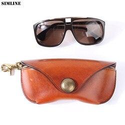Echtes Kuh Leder Gläser Fall Box Handgemachte Vintage Harte Brille Sonnenbrille Tasche Taschen Brillen Taschen Brillen Halter Abdeckung