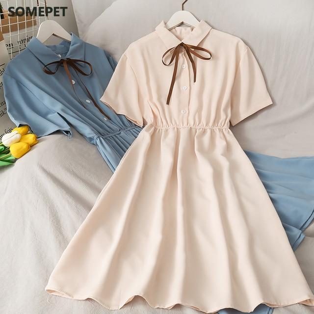 Dress Women Chiffon Bow Solid High Waist Turn-down Collar Preppy Style Popular Temperament Girls Summer Holiday 1