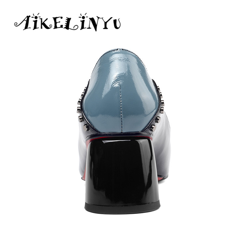 AIKELINYU Blue Women Rivets Full Genuine Leather Pumps Fashion High Heel Square Head Office Ladies Shoes Woman Thick heel Shoes in Women 39 s Pumps from Shoes