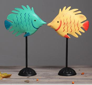 1pair Nordic simple wood carving short tail fish household creative couple fish display sitting room wine cabinet soft Animal