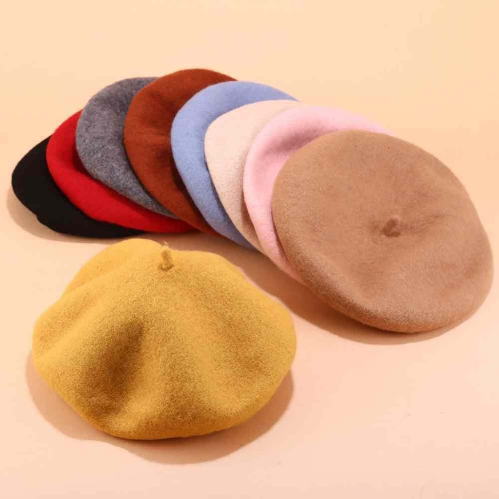 Hot Verkoop 2019 Goedkope Mode Nieuwe Vrouwen Wol Effen Kleur Baret Vrouwelijke Bonnet Caps Winter Alle Matched Warm Walking Hoed cap15 Kleuren