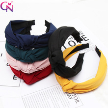 CN Solid Color Knot Hair Bands for Women Simple Fabric Girls