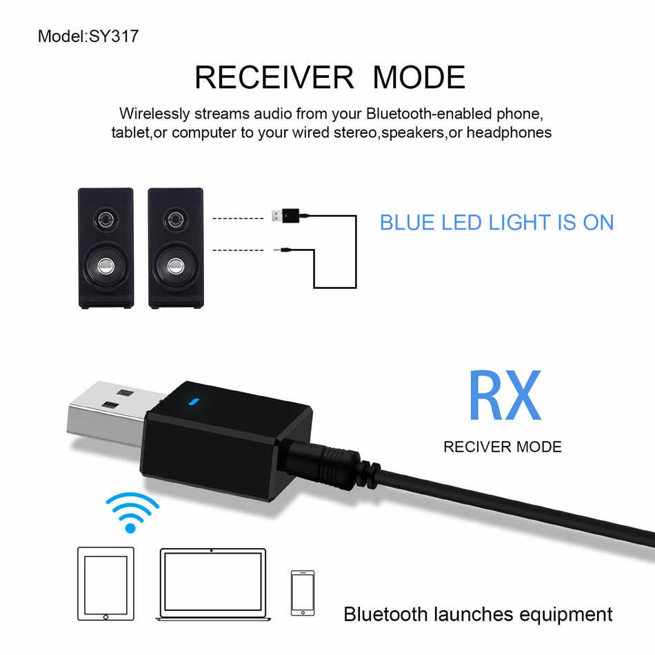 Vikefon Bluetooth Ontvanger Zender Bluetooth 5.0 Dongle Aux Rca Usb 3.5 Mm Jack Audio Draadloze Adapter Voor Tv Pc Auto kit