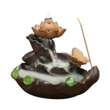 Backflow Incense Burner Ceramic Sandalwood Furnace Lotus Moonlight Home Indoor Creative Ornaments