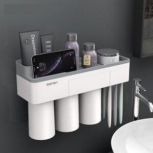 Image 4 - Suporte de escova de dentes magnética com creme dental espremedor com copos para 2/3 pessoas no banheiro rack armazenamento prego montagem livre