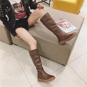 Image 3 - SWYIVY حذاء برقبة للركبة النساء 2019 الشتاء منصة الأحذية مشبك حذاء كاجوال امرأة أسود/براون طويل القامة التمهيد سستة حجم كبير 42