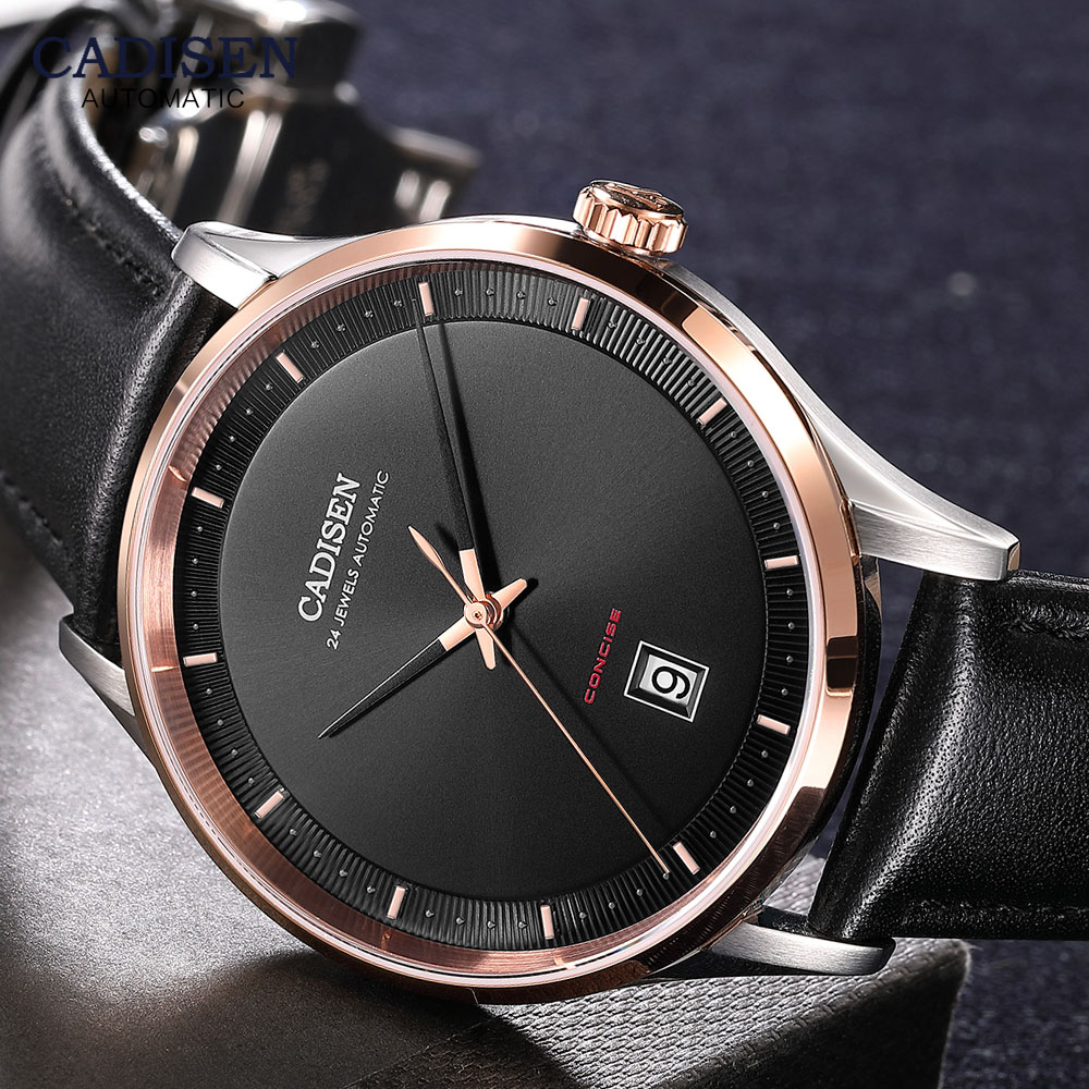 CADISEN Mens Automatic Mechanical Watches Luxury Top Brand Wristwatch NH35A Movement Casual Leather Strap Watch Man Relogio 8143