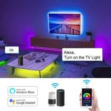WIFI Tuya Smart Musik LED Streifen Lichter TV Hintergrundbeleuchtung Kit Mit Alexa Google Home 5050 RGB Dimmbare 5M 10M 15M DC 12V Voice Control