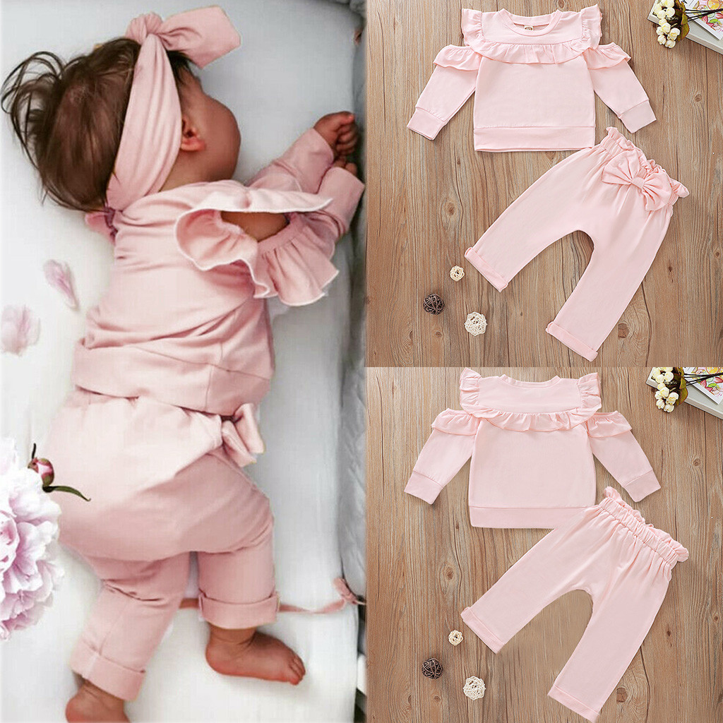 Newborn Baby Girls Red Bowknot Top+Pants Romper Outfits Tracksuit Clothes COTTON