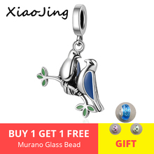 XiaoJing 925 Sterling Silver sweet Lovebirds pendant beads with Enamel Charms fit Pandora Bracelet for Girlfriend Jewelry Gifts new collection good gifts noble blue silver charms series 925 real silver charms bracelet for girlfriend