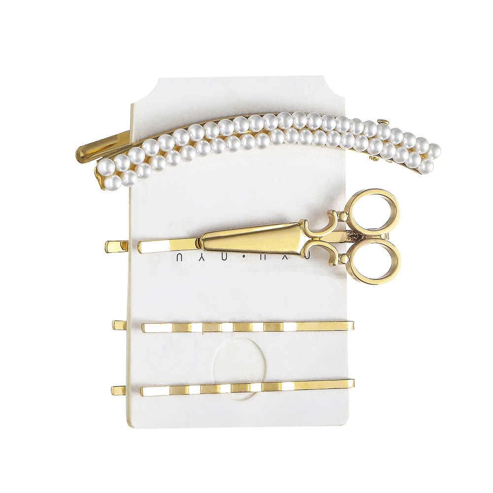 1 סט 2020 חדש פרל שיער קליפ עבור נשים בנות מתכת גיאומטרי בובי סיכות סיכות מכבנת אופנה שיער אבזרים