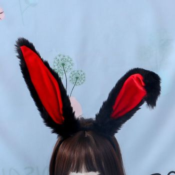 Female Girls Lolita Cosplay Headband Fluffy Plush Sweet Long Rabbit Bunny Ears Bandana Hair Hoop Cartoon Anime Headpiece ebingoo rabbit ears silver grey long double braid judy bunny synthetic cosplay wig for party rabbit ear props