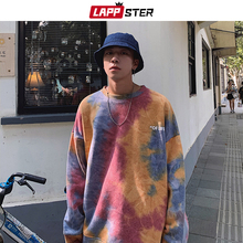 LAPPSTER Men 하라주쿠 Tie Dye Oversized Hoodies 2020 가을 남성 일본 Streetwear 스웨터 남성 코튼 힙합 까마귀