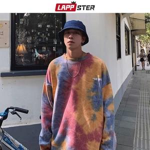 Image 1 - LAPPSTER hommes Harajuku cravate colorant surdimensionné sweats à capuche 2020 automne hommes japonais Streetwear sweat shirts mâle coton Hip Hop à capuche