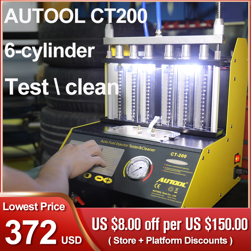 AUTOOL Car Injector Tester Fuel Injector Nozzle Cleaner 220V/110V Auto Motorcycle Ultrasonic Cleaning Pk CNC-602A CT150