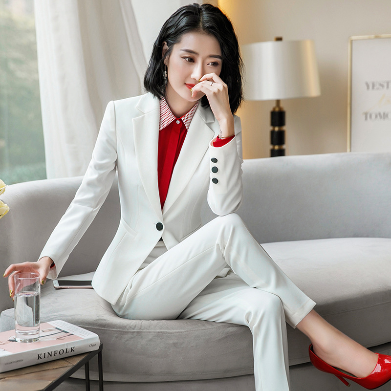 Formal Office OL Ladies Work Wear Suits Long Sleeve Jacket with Pant Black Blue Pant Suit Woman Two 2 Piece Blazer Sets Pantsuit