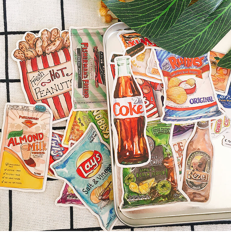 20PCS Daily Snacks Stickers Crafts And Scrapbooking Stickers Book Student Label Decorative Sticker DIY Stationery
