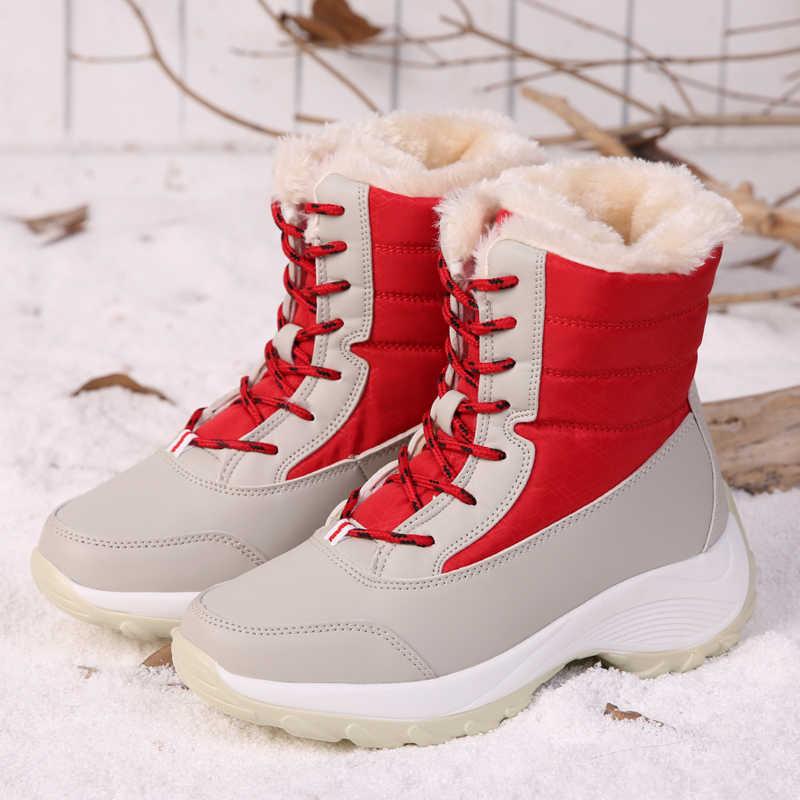 High Top Frauen Schnee Stiefel Plattform Schuhe Frauen Mode Winter Warme Fell Arbeit Stiefel Frauen Stiefeletten botas mujer plus größe 42